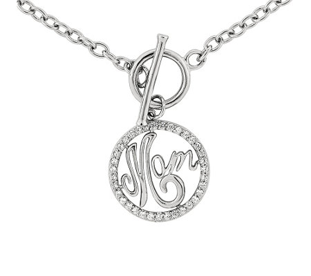 "Sterling ""Mom"" 18"" Toggle Necklace"