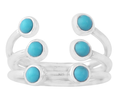 Sterling Turquoise Triple Row Cuff Ring