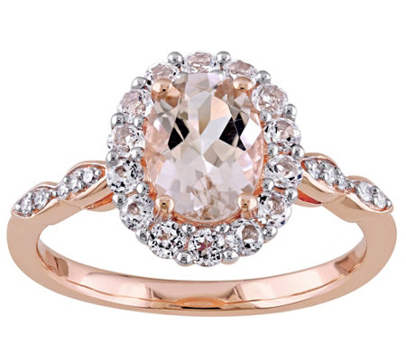 1.15 ct Morganite & 0.60 White Topaz Ring, 14KRose Gold