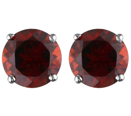 1.30 cttw Garnet Stud Earrings, 14K White Gold