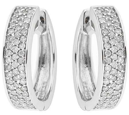 Diamond Hoop Earrings, Sterling, 4/10 cttw, byAffinity