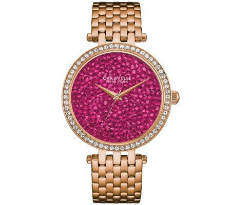 Caravelle New York Women's Watch w/ Berry RockCrystal Dial