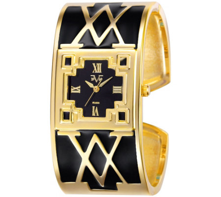 Women's Goldtone and Black Bangle Cuff Watch