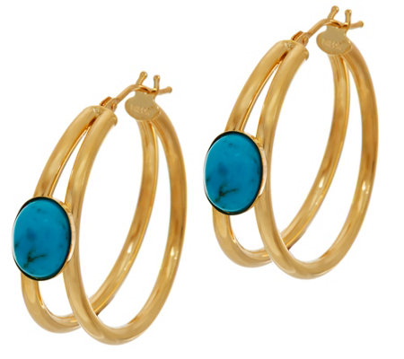 Italian Gold Gemstone Hoop Earrings 14K Gold