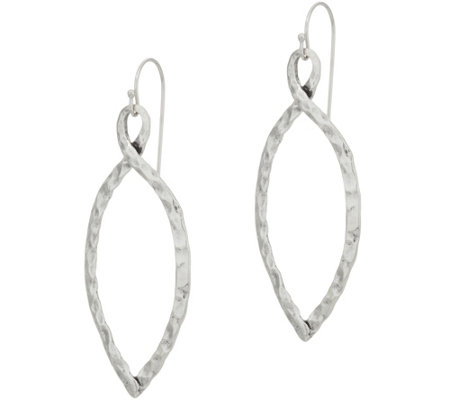 Or Paz Sterling Silver Hammered Marquise Shaped Dangle Earrings