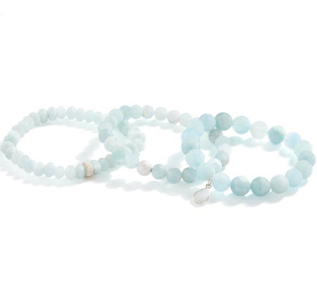 Dee Berkley Set of Three Aquamarine Bracelets