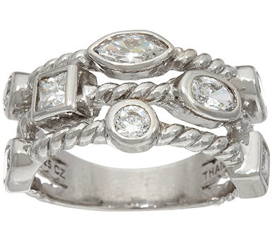 Diamonique 1.50 cttw Triple Row Band Ring Sterling - J348503