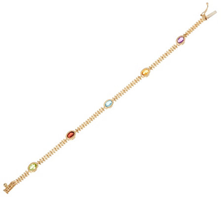 "Imperial Gold 6-3/4"" Wheat 2.20 cttw Gemstone Bracelet, 14K"