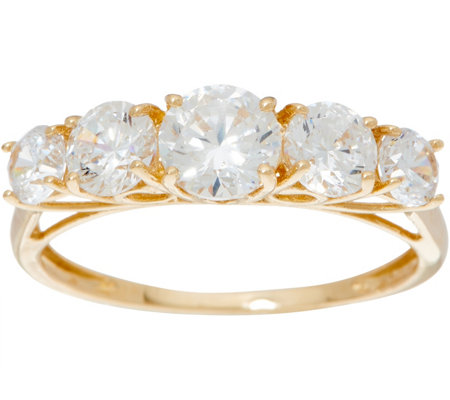 Diamonique Graduated Stone Band Ring, 14K Gold