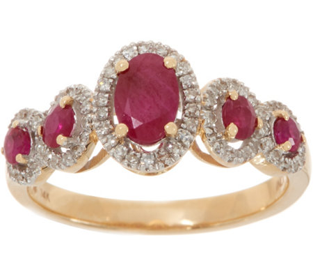 Ruby 1.00 ct & Diamond 1/6 ct Ring 14K Gold