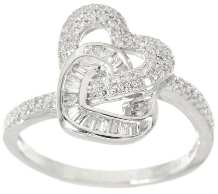 """As Is"" Diamond Interlocking Heart Ring Sterling by Affinity"