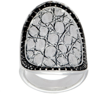 JAI Sterling Silver & Black Spinel Croco Saddle Ring