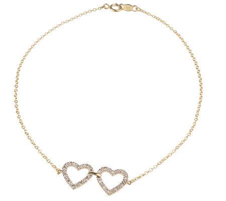 Affinitydiamond 1 10 Ct Tw Double Heart Ankle Bracelet 14k