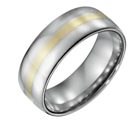 Forza Men's 8mm Steel Polished Ring w/ 14K GoldInlay
