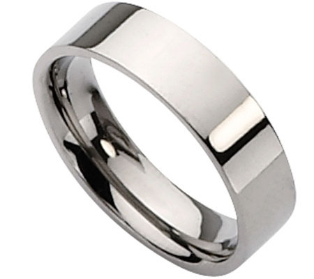Titanium Flat 6mm Polished Ring - Unisex