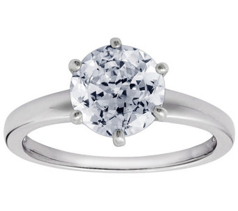 Diamonique 2.00 cttw 100-Facet Solitaire Ring, Platinum Clad - J112404