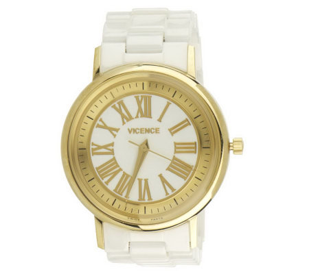 VicenzaGold Ceramic Round Case Watch 14K Gold