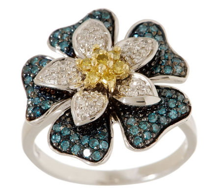 Bold Flower Diamond Ring, Sterling, 1/2 cttw, by Affinity