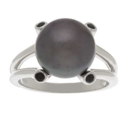 Honora Cultured Pearl 10.0mm Button and Gemstone Sterling Ring