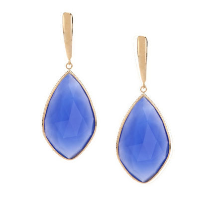 Colors of Chalcedony Elongated Design Earrings 14K Gold