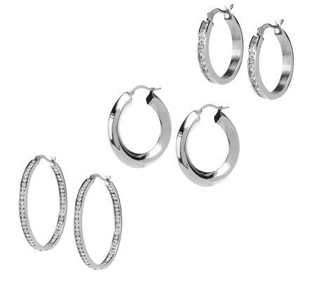 Steel by Design Set of 3 Hoop Earrings