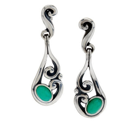 Carolyn Pollack Sterling Chrysoprase Dangle Earrings