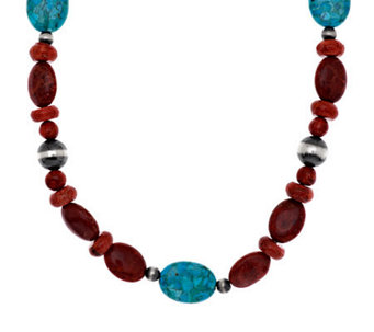 "American West Composite Coral & Turquoise 21-3/4"" Necklace - J282404"