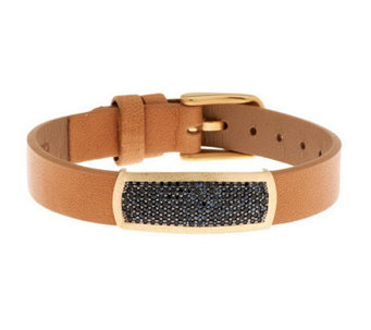 VicenzaGold Black Spinel Station Leather Bracelet, 14K - J284004