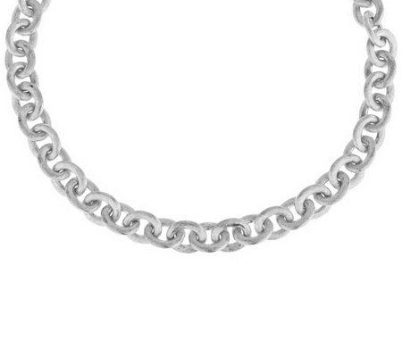 "Italian Silver Sterling 18"" Satin Finish Rolo Link Necklace, 44.0g"