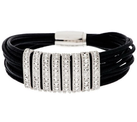 Vicenza Silver Sterling Diamond Cut Station Leather Bracelet