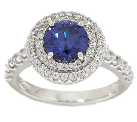 Epiphany Diamonique Simulated Tanzanite Halo Ring