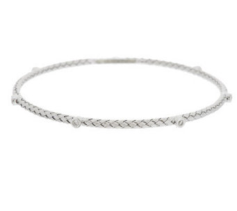 VicenzaSilver Sterling Woven Diamonique Station Round Bangle - J287404