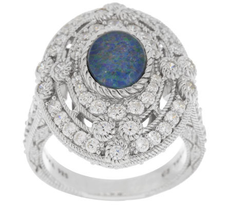 Judith Ripka Sterling Oval Opal Triplet and 2.05cttw Diamonique Ring