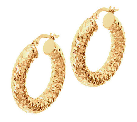 """As Is"" VicenzaGold 1"" Diamond Cut Hoop Earrings, 14K Gold Tube"
