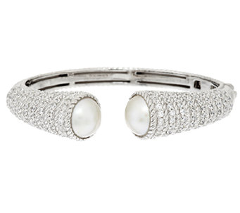 Judith Ripka Sterling 3.75ct Diamonique Hinged Cuff w/ Mabe Pearl - J294004