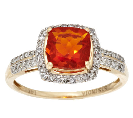 0.90 ct Fire Opal & 1/5 ct tw Diamond Ring 14K Gold