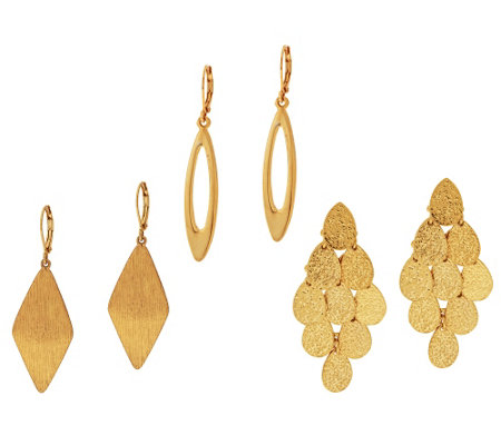 Joan Rivers Set of 3 Drop Earring Wardrobe