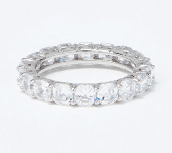 Diamonique Asscher Cut 4.90 cttw Eternity Ring, Platinum Clad - J297704