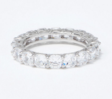 Diamonique Asscher Cut 4.90 cttw Eternity Ring, Platinum Clad