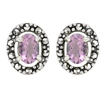 Suspicion Sterling Marcasite Oval Amethyst Button Earrings - J298504