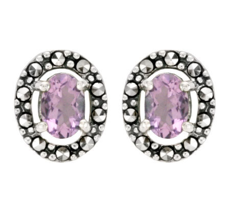 Suspicion Sterling Marcasite Oval Amethyst Button Earrings