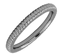 Simply Stacks Sterling Black Rhodium-Plated 2.25mm Ribbed Ring - J298904