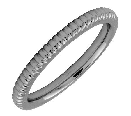 Simply Stacks Sterling Black Rhodium-Plated 2.25mm Ribbed Ring