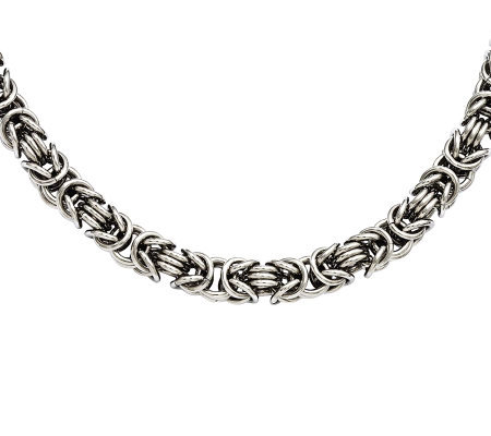 "Stainless Steel 18"" Fancy Byzantine Chain Necklace"