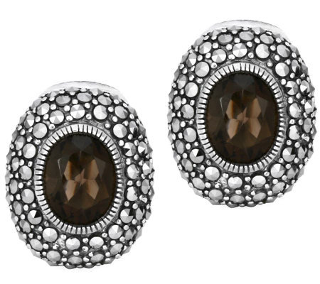 Suspicion Sterling Marcasite & Smoky Quartz Oval Earrings