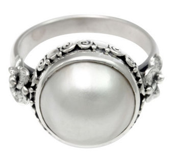 Novica Artisan Crafted Sterling White CulturedMabe Pearl Ring - J310804
