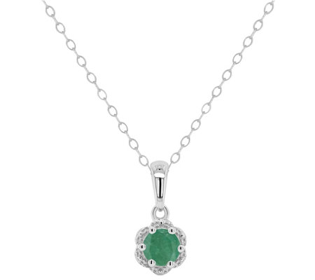 Sterling Birthstone Round Pendant with Chain