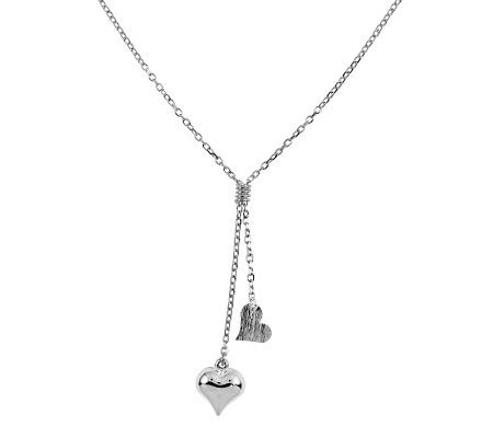 "Sterling 17"" Polished Double Heart Drop Necklace"