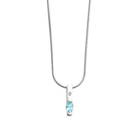 "Sterling Choice of Gemstone Bar Pendant with 18"" Chain"