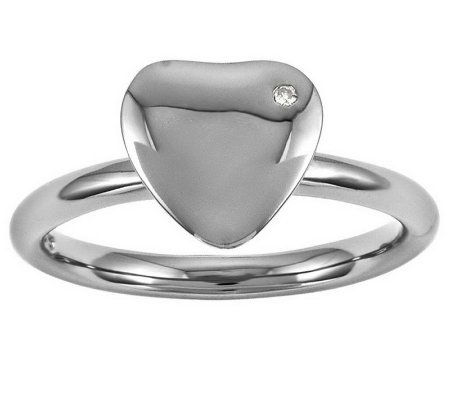 Simply Stacks Sterling Polished Diamond Accent Heart Ring